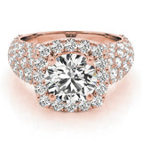 3 ct tw Halo Engagement Ring with F Color VS Clarity Diamonds GIA Center Stone.