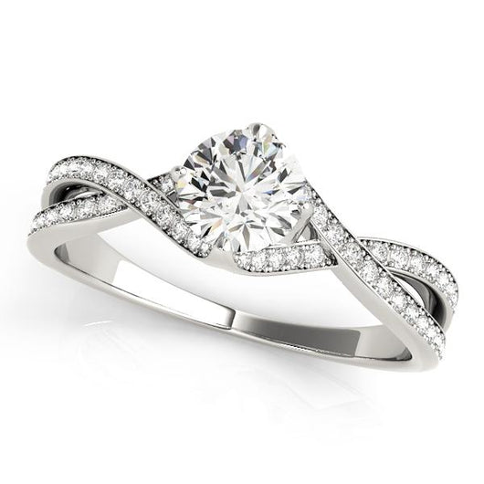 5/8 ct tw MultiRow   Engagement Ring with F Color VS Clarity Diamonds GIA Center Stone.