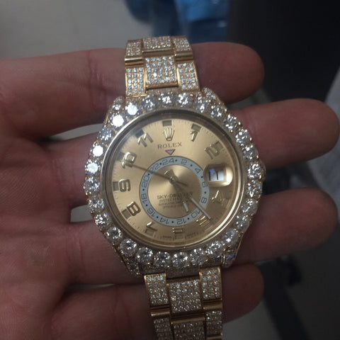 Rolex Sky-Dweller 18k Yellow Gold 42mm Arabic Dial Diamond Watch