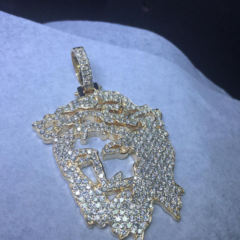 Custom Diamond Jesus Cut-Out Pendant