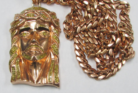 Jesus Pendant with Canary Yellow Diamonds and fixed Chain