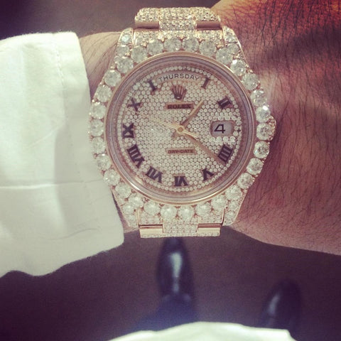 Customized Diamond Rolex Day Date II 2 President Rose Gold 30 Carats of F Color VS Clarity Diamonds