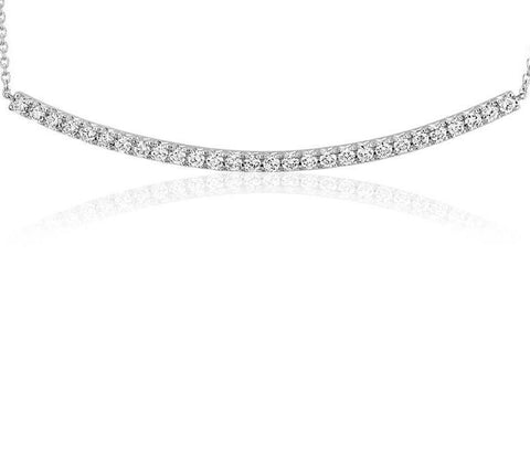 16 Inch Petite Curved Bar Diamond Necklace with .40 ct of F G Color VS2 Diamonds