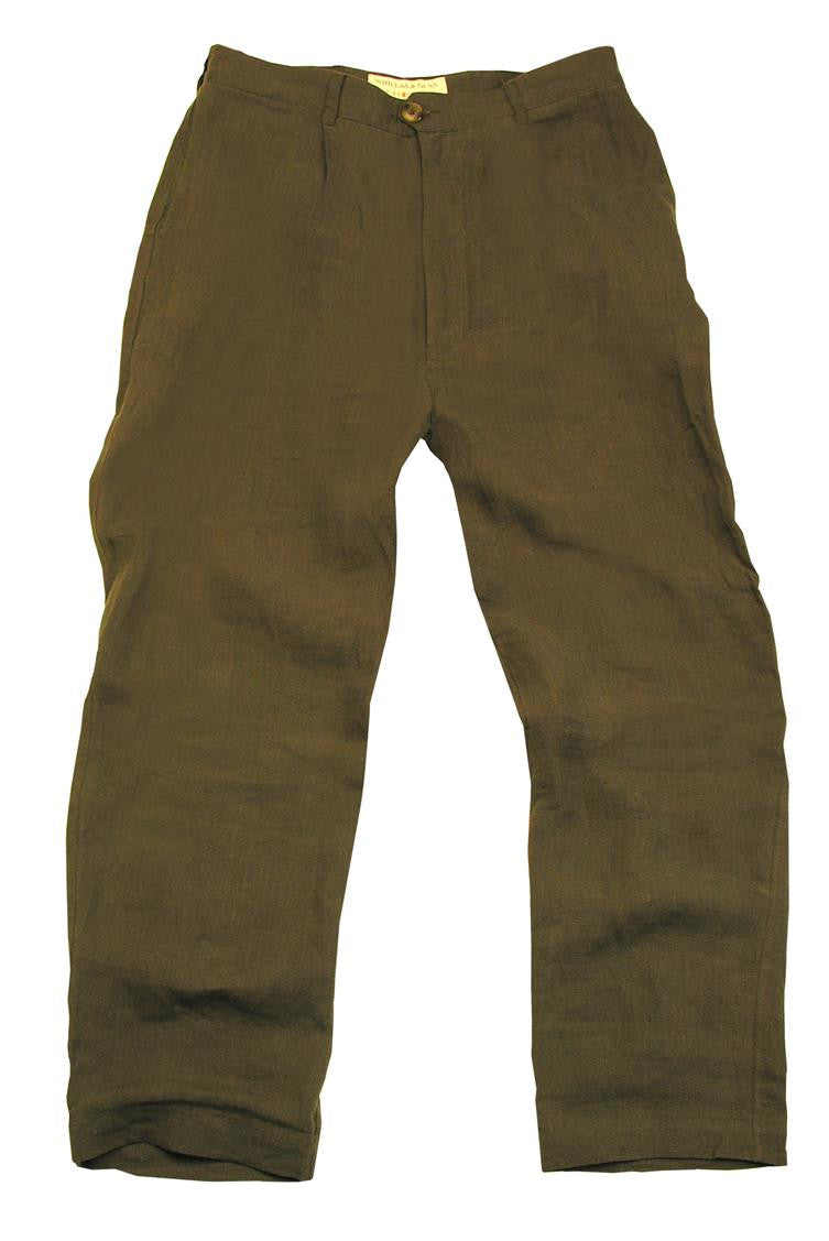 Casual summer | Leisure time chinos made of linen in sage and loden green - OUT OF AUSTRALIA | Kakadu Traders Australia