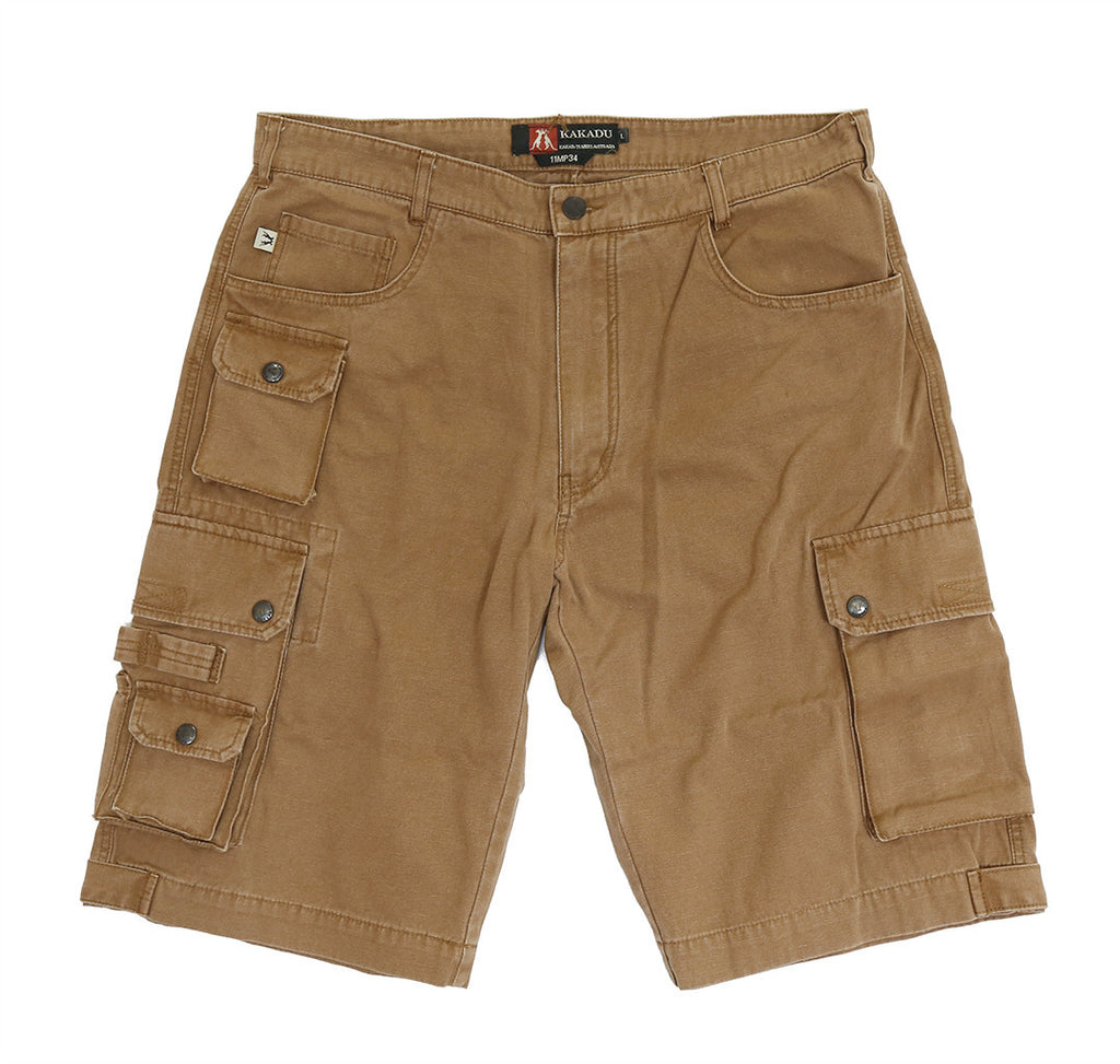 Leisure cargo shorts utility- comfortable leg- extra pockets in tobacco - OUT OF AUSTRALIA | Kakadu Traders Australia