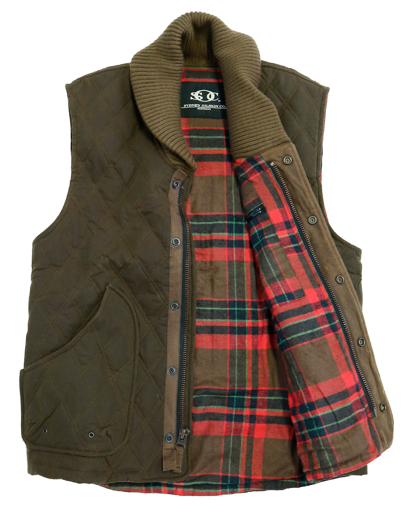 lined winter | Cape Jaffa outdoor vest with lining and shawl collar in S and M - OUT OF AUSTRALIA | Kakadu Traders Australia