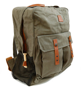 spacious backpack with extra compartments | Zipper and leather applications - OUT OF AUSTRALIA | Kakadu Traders Australia