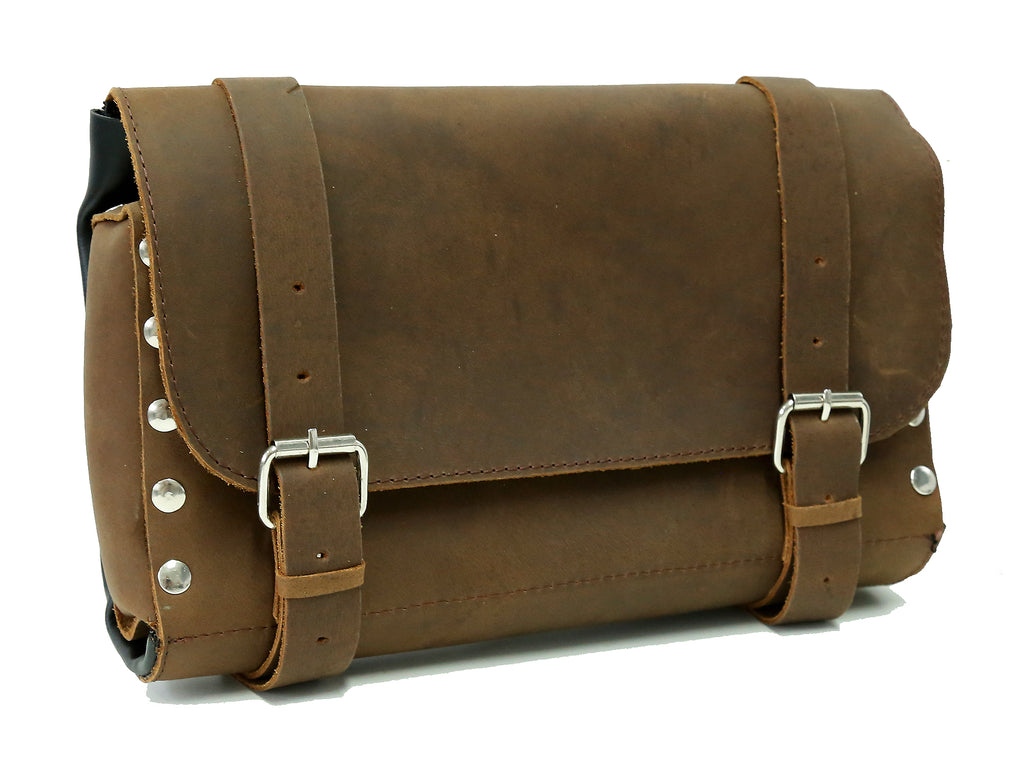 Motorcycle bag | Handlebars Tool roll in leather with silver rivets and buckle - OUT OF AUSTRALIA | Kakadu Traders Australia