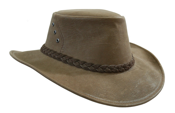 Australian Traveler hat made from naturally tanned kangaroo leather with a shapeable brim - OUT OF AUSTRALIA | Kakadu Traders Australia