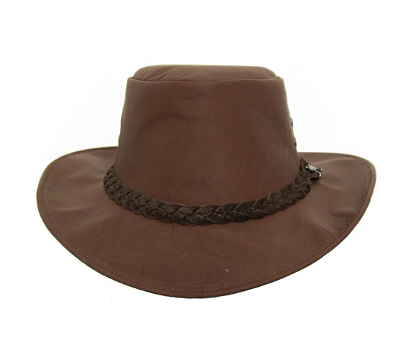 Australian Traveler hat made from naturally tanned kangaroo leather in chocolate brown