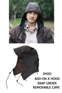 detachable hood | Hat- Attachable Hood in brown to match Kakadu Oilskin Jackets - OUT OF AUSTRALIA | Kakadu Traders Australia