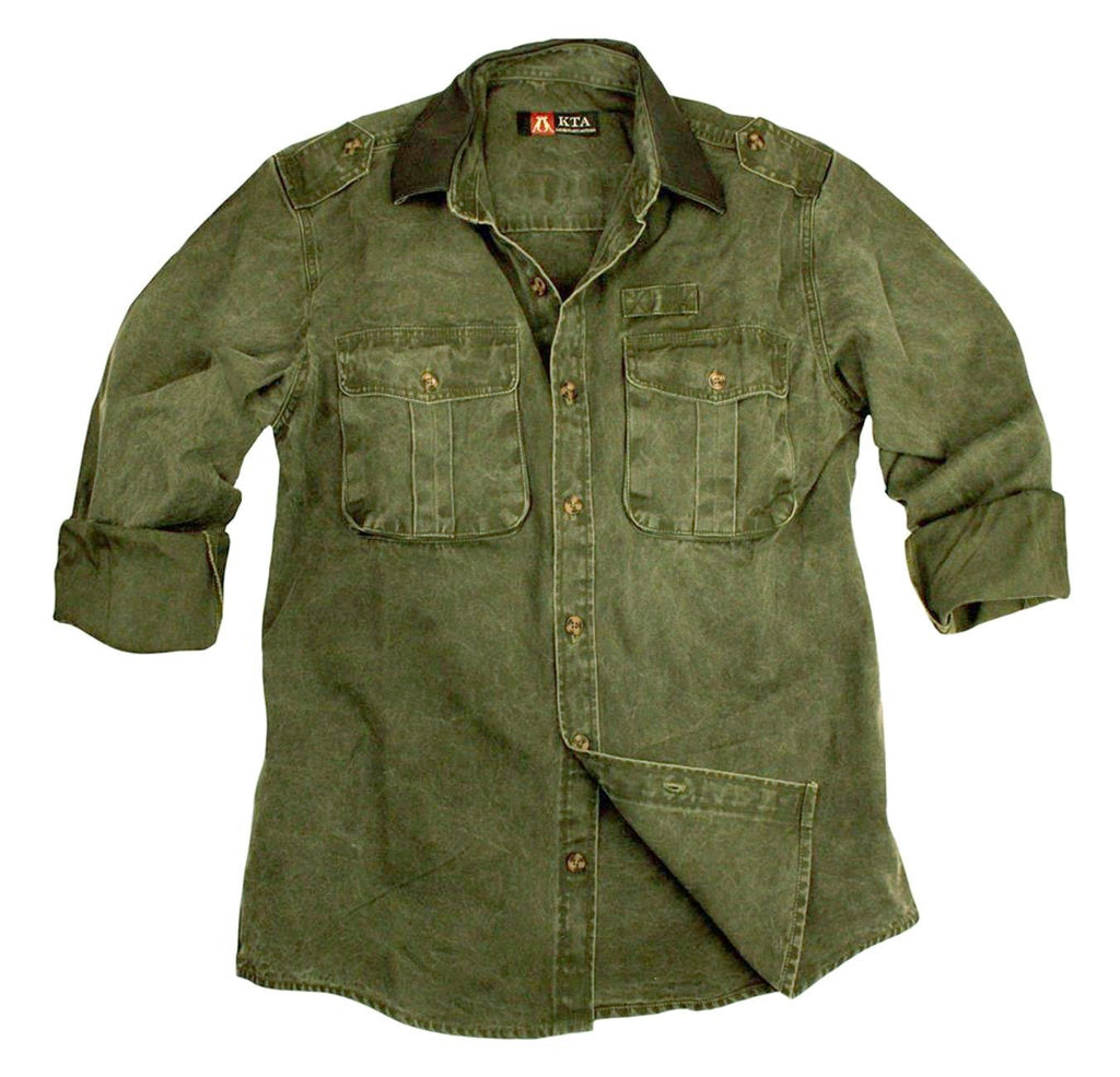 Australian Style Outdoor Leisure Shirt With Leather Collar Southern Cross - OUT OF AUSTRALIA | Kakadu Traders Australia
