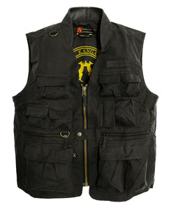 Leisure outdoor vest with many pockets made of water-repellent cotton in black - OUT OF AUSTRALIA | Kakadu Traders Australia