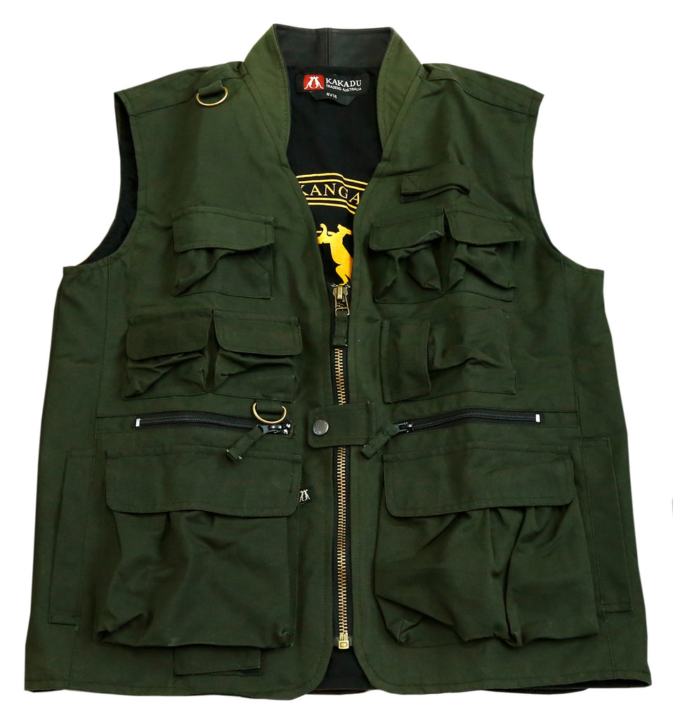 Leisure outdoor vest with many pockets made of water-repellent cotton in olive green - OUT OF AUSTRALIA | Kakadu Traders Australia