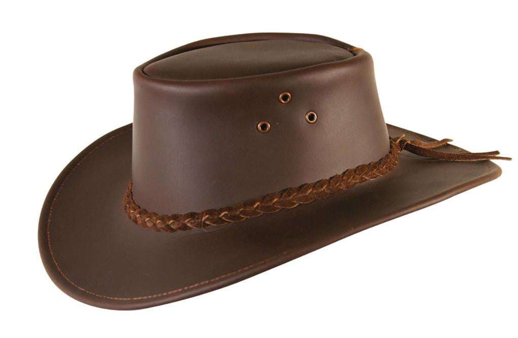 Cowboy leather hat for kids in black and brown - made in Australia - OUT OF AUSTRALIA | Kakadu Traders Australia
