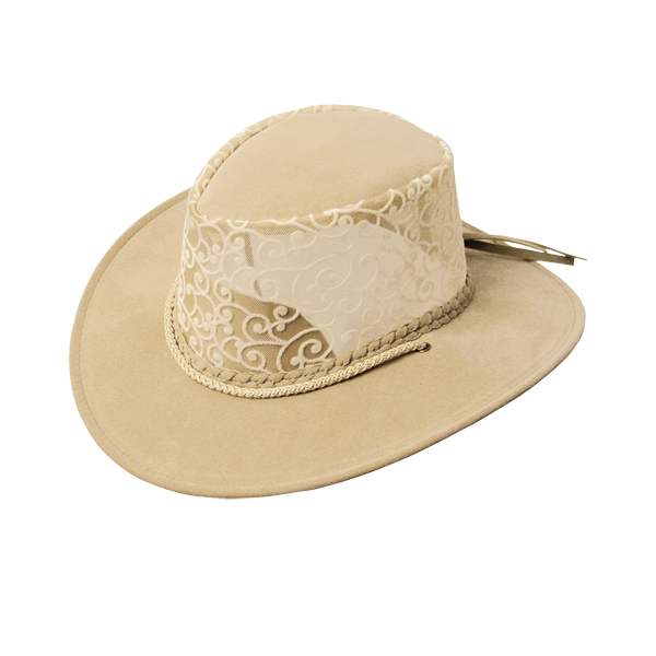 Suns | Summer | Western hat Florentine with mesh insert and ornamental flocking - OUT OF AUSTRALIA | Kakadu Traders Australia