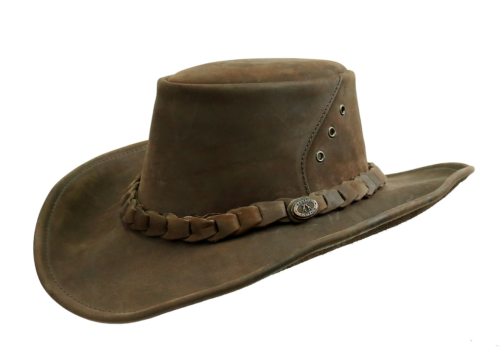 Western | Cowboy | Bruce leather hat with malleable brim | Australian Style - OUT OF AUSTRALIA | Kakadu Traders Australia