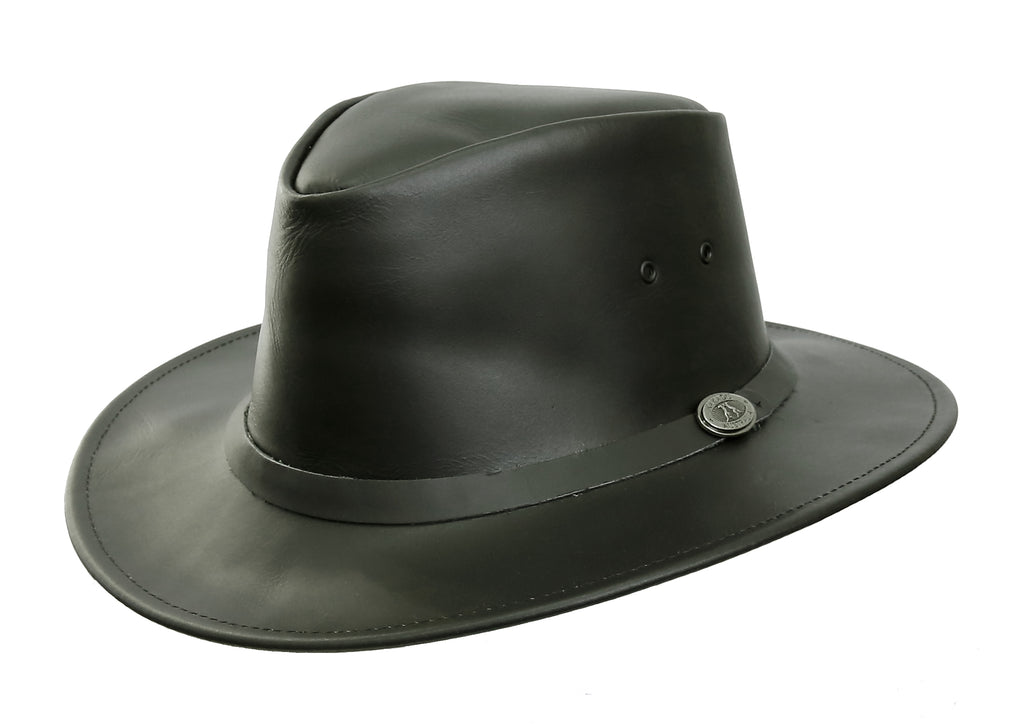 Australian style leather hat Praha in black with smooth hat band - cockatoo Australia - OUT OF AUSTRALIA | Kakadu Traders Australia