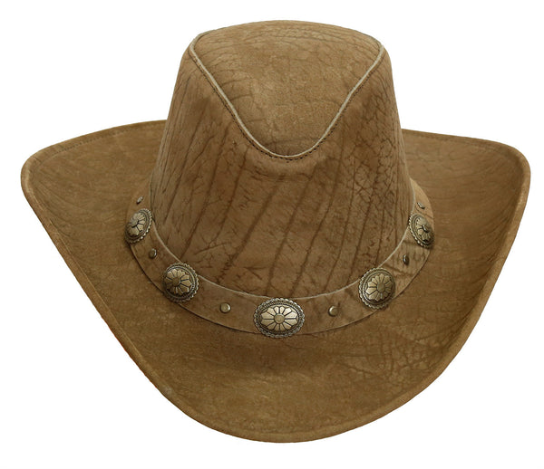Cowboy | Western | Leather hat Razorback - high block with pliable brim - OUT OF AUSTRALIA | Kakadu Traders Australia