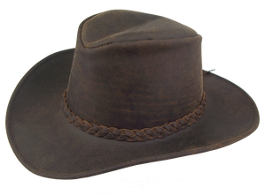 Western | Ranger cowboy leather hat with malleable brim and braided hat band - OUT OF AUSTRALIA | Kakadu Traders Australia