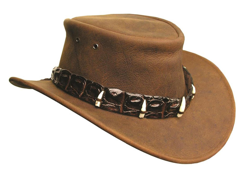Australian Style Dundee Leather Hat | with real crocodile hatband and teeth in brown S - OUT OF AUSTRALIA | Kakadu Traders Australia