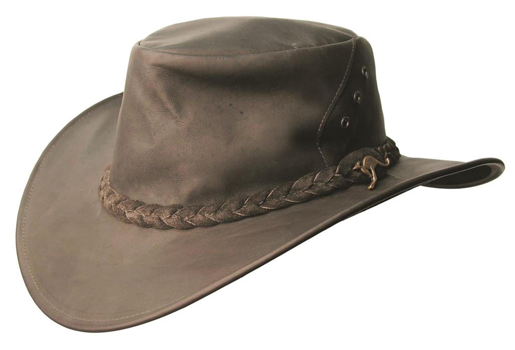 Australian Kangaroo Leather Traveler Hat Darwin trip Luggage hat in brown - OUT OF AUSTRALIA | Kakadu Traders Australia