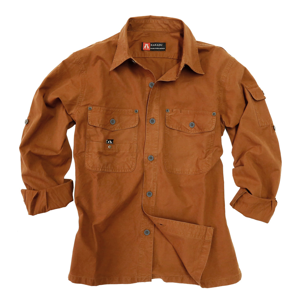 Australian Style Outdoor | Safari men's shirt Concord in brick - OUT OF AUSTRALIA | Kakadu Traders Australia