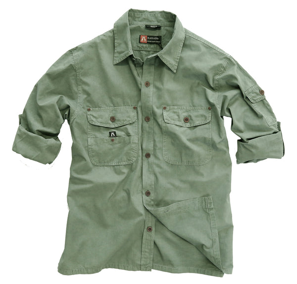 Australian Style Outdoor | Safari men's shirt Concord in green - OUT OF AUSTRALIA | Kakadu Traders Australia