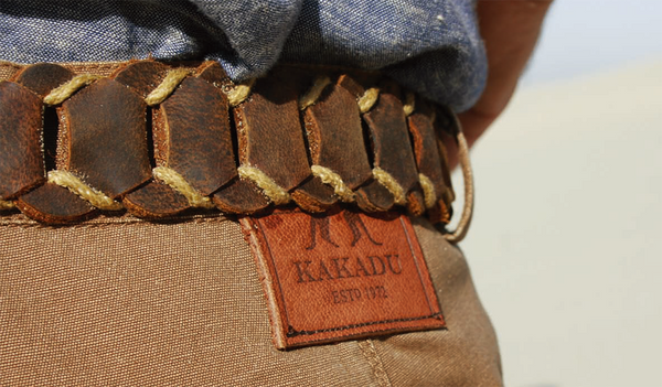 Real leather | Leather belt Dorrigo- handmade from leather loops in tobacco - OUT OF AUSTRALIA | Kakadu Traders Australia