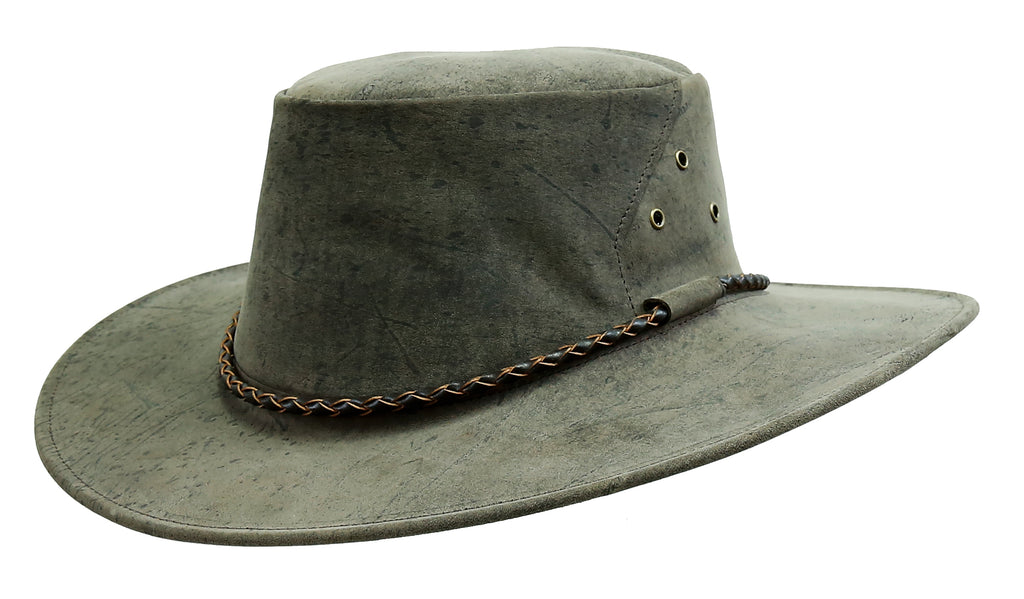 Outdoor travel hat The Roo in mottle - made in Australia from kangaroo leather - OUT OF AUSTRALIA | Kakadu Traders Australia