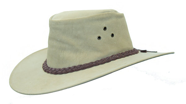 Australian outdoor travel suitcase hat in kangaroo leather in smooth and suede