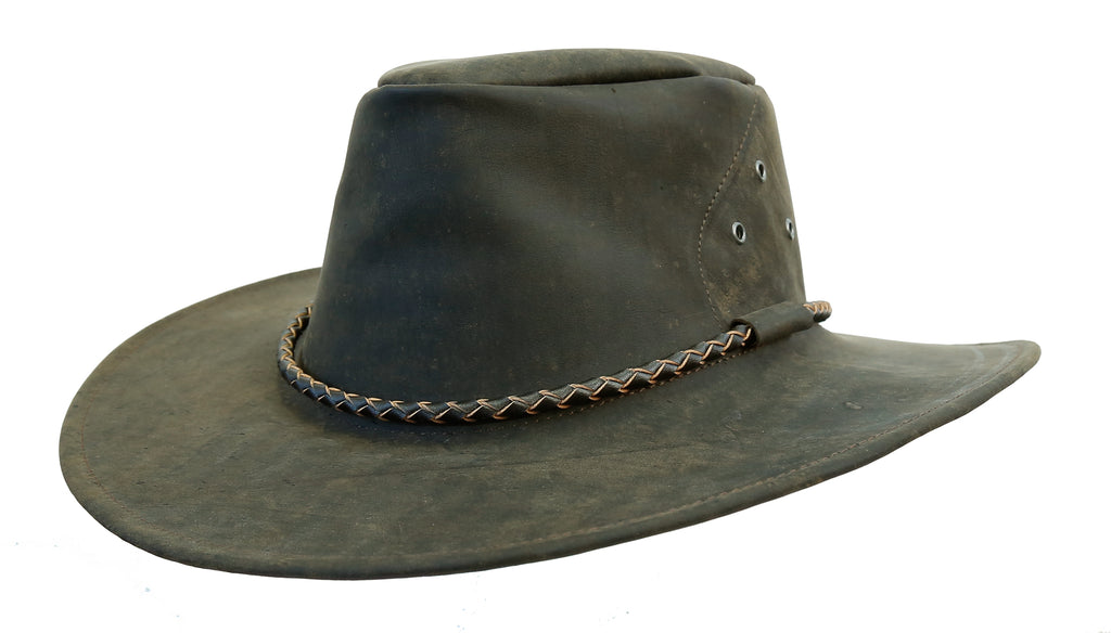 Outdoor travel hat The Roo in brown - made in Australia from kangaroo leather - OUT OF AUSTRALIA | Kakadu Traders Australia