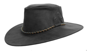 Outdoor travel hat The Roo in black - made in Australia from kangaroo leather - OUT OF AUSTRALIA | Kakadu Traders Australia