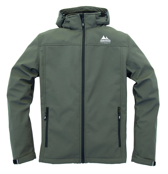 Nordberg softshell jacket Eldgrim in army with removable hood and windproof zip