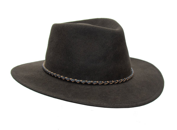 Crushable wool felt hat Jacob in brown with braided leather hat band and kangaroo logo