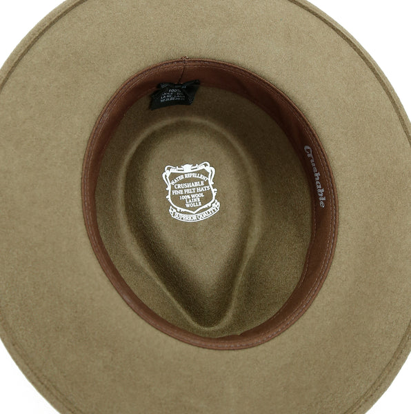 Australian Style Outdoor | Crushable wool felt hat Jacob in taupe with a braided leather hat band