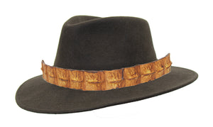 Outdoor | crushable wool felt hat with crocodile Shepparton | tobacco