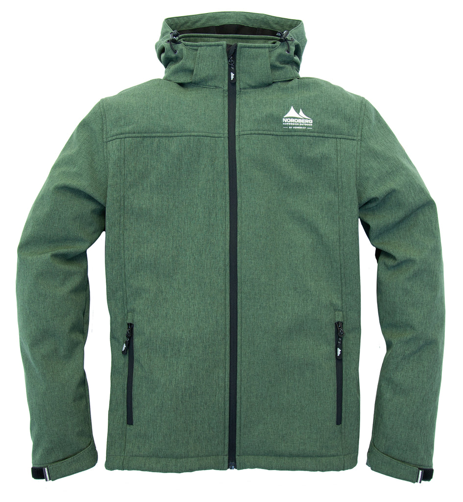 Nordberg Kjeld softshell jacket in green with removable hood and windproof zip
