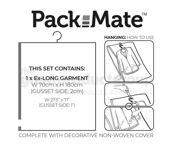 Packmate EXTRA LONG DRESS SIZE Hanging Vacuum Storage Bags With Cover