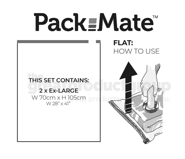 Packmate EXTRA LARGE Flat Vacuum Storage Bag Sets (70x105cm) - FROM