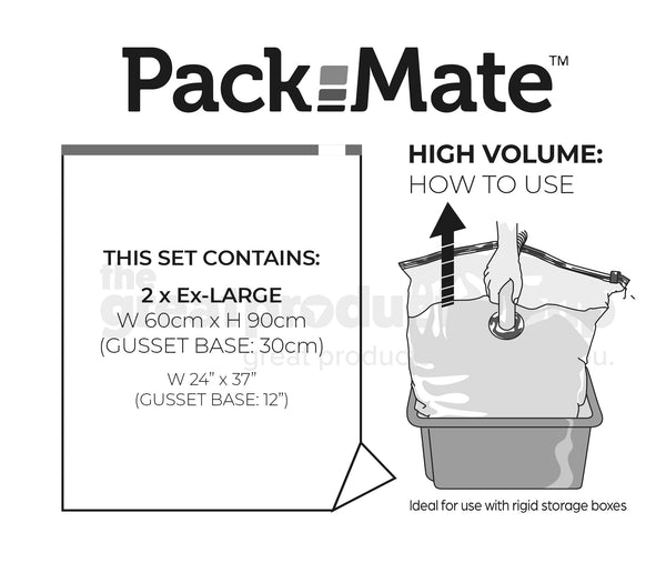 Packmate EXTRA LARGE Gusset Base Vacuum Storage Bag Set (60x90 with 15cm base) - FROM