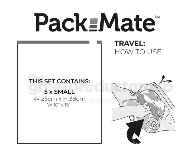 Packmate 5pc SMALL Travel Roll Storage Bags (25x38cm)