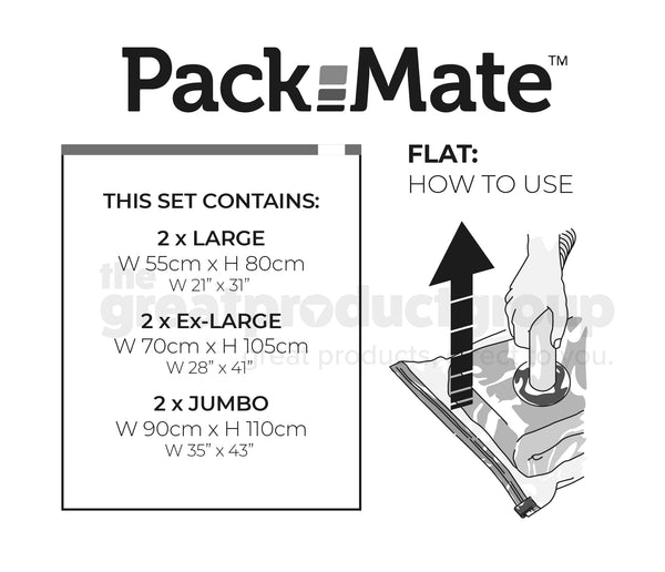 Packmate 6pc BUMPER Flat Vacuum Storage Bag Set - 2 Jumbo, 2 XL, 2 Large