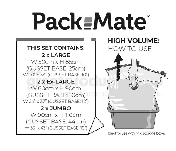 Packmate 6pc BUMPER Gusset Base Set -  2 Jumbo, 2 Extra Large, 2 Large