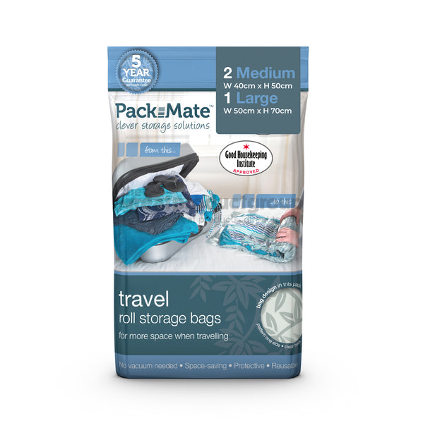 Packmate 3pc Travel Roll Storage Bag Set (2 Medium, 1 Large)