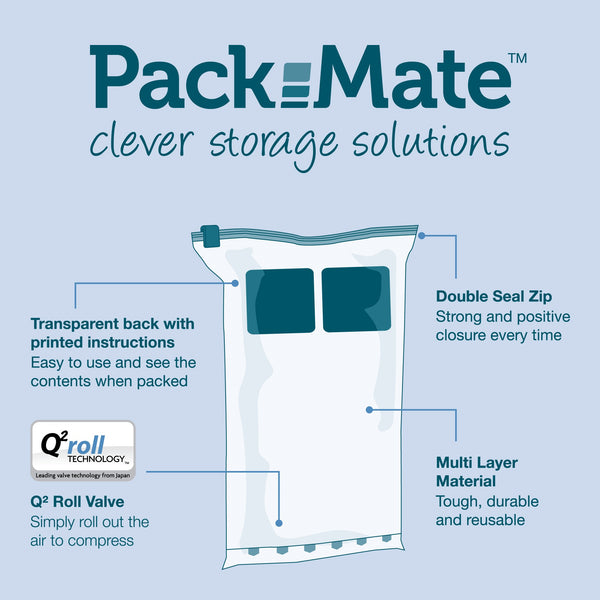 Packmate 8pc Travel Roll Storage Bag Set (2 Small, 4 Medium, 2 Large) - BEST SELLER
