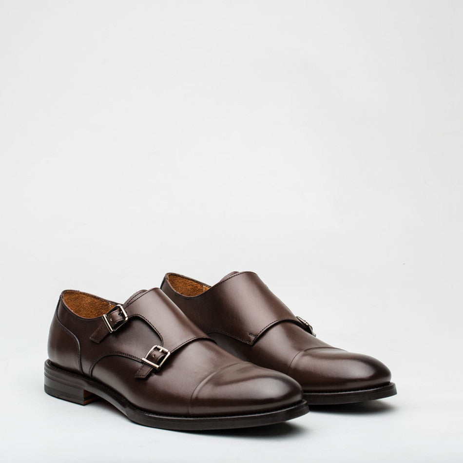 Nickolson - Stone - Leather Captoe Monk Shoes - 2