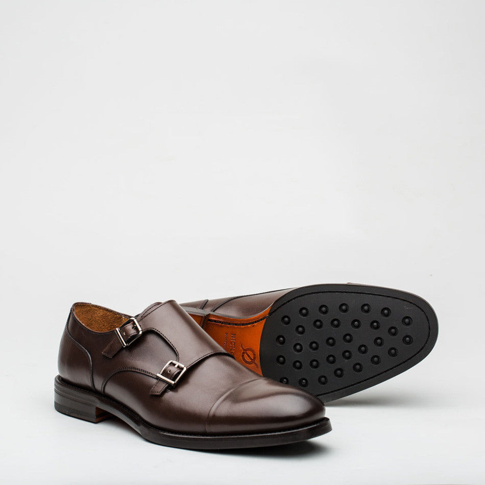 Nickolson - Stone - Leather Captoe Monk Shoes - 3