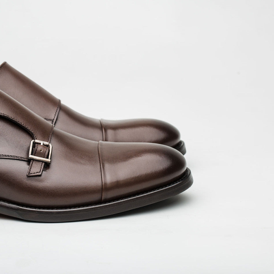 Nickolson - Stone - Leather Captoe Monk Shoes - 5
