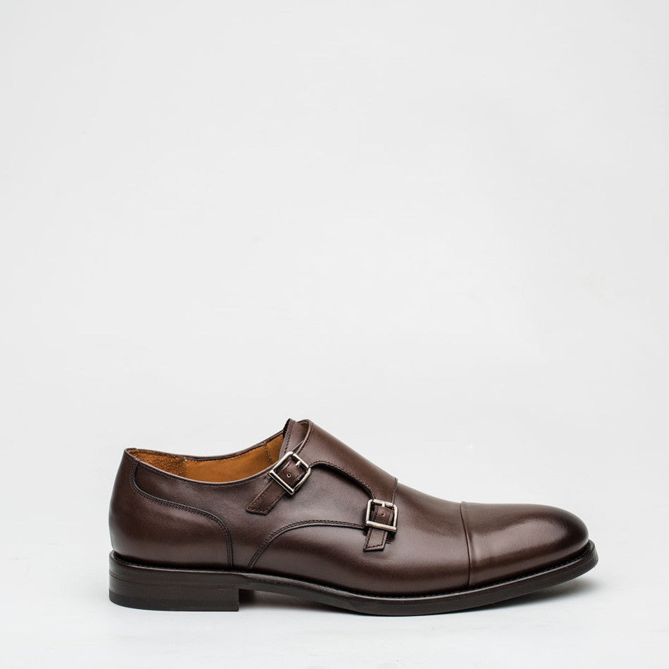 Nickolson - Stone - Leather Captoe Monk Shoes - 1